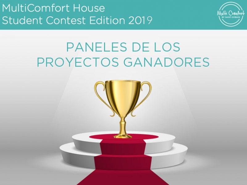 Paneles de los proyectos ganadores Concurso Estudiantes MultiComfort House 2019