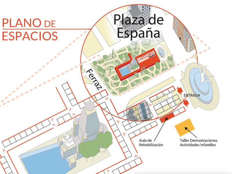 Plano de espacios y cómo llegar a REHABITAR Madrid 2017