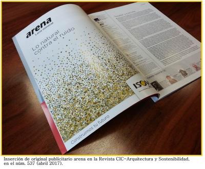 Inserción de original publicitario arena en la Revista CIC-Arquitectura y Sostenibilidad, en el núm, 537 (abril 2017)