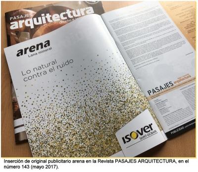 Inserción de original publicitario en la revista Pasajes Arquitectura, en el Nº 143 (mayo 2017)