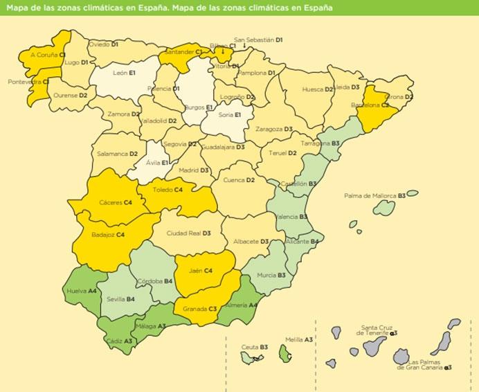 Mapa de las zonas climáticas en España